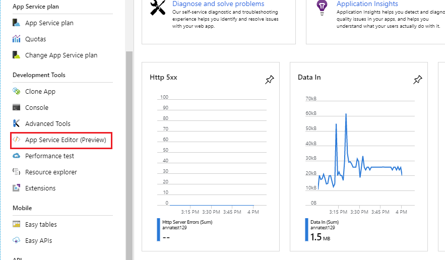 Removing Easy Tables and Easy APIs from Azure App Service