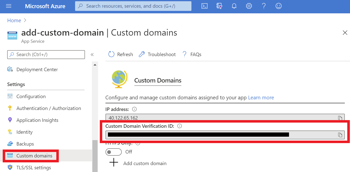 Custom Domain Verification ID