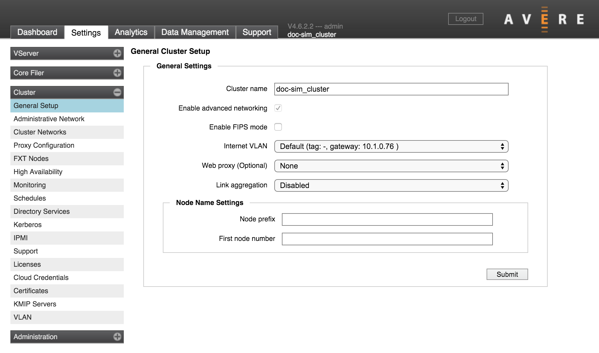 Cluster > General Setup — Avere OS Configuration Guide